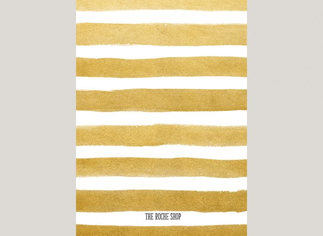 THE DEBRA gold stripes save the date cards