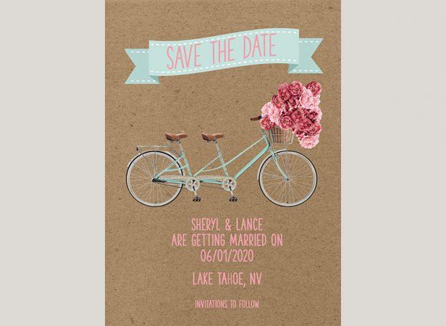Vintage bike peonies on kraft save the date cards