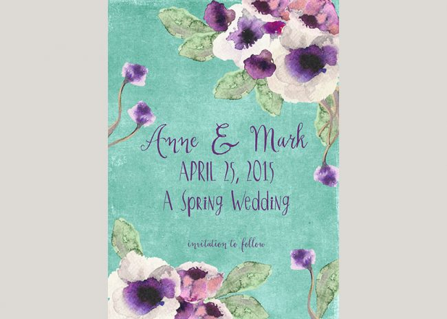 watercolor anemones aqua save the date cards