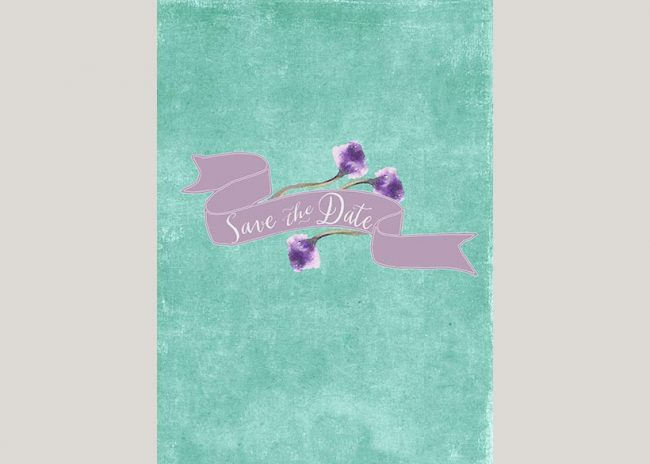 THE ANNIE aqua save the date cards