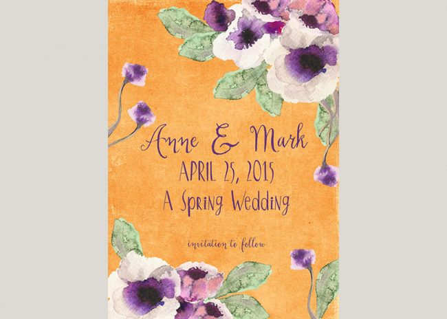 watercolor anemones orange save the date cards