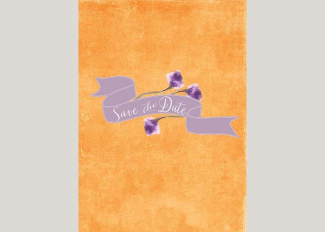 THE ANNIE watercolor anemones orange save the date cards