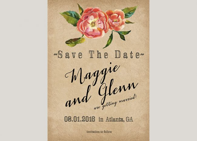 Rustic chic autumn flowers save the date cards