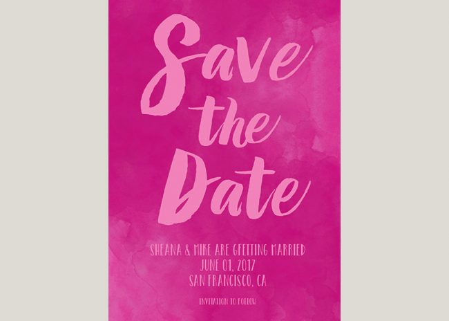 Fuchsia pink watercolor brush save the date cards