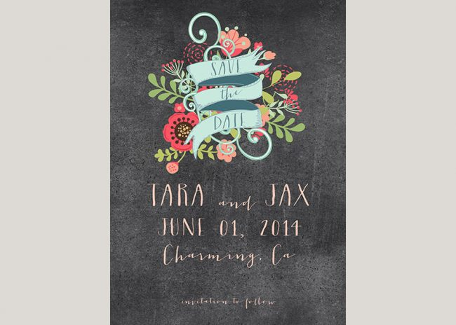 Boho chic pastel florals save the date cards