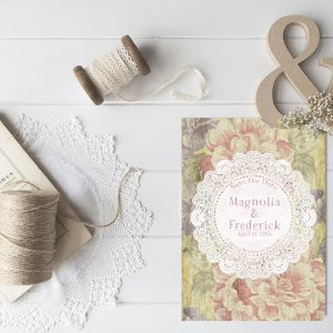 shabby chic yellow flowers & vintage doily save the date cards