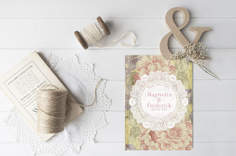 Shabby Chic Flowers Vintage Doily Save The Date Cards The