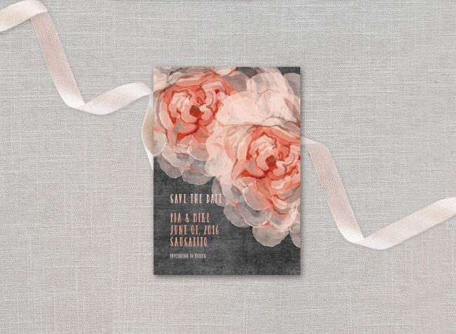peonies on chalkboard save the date cards