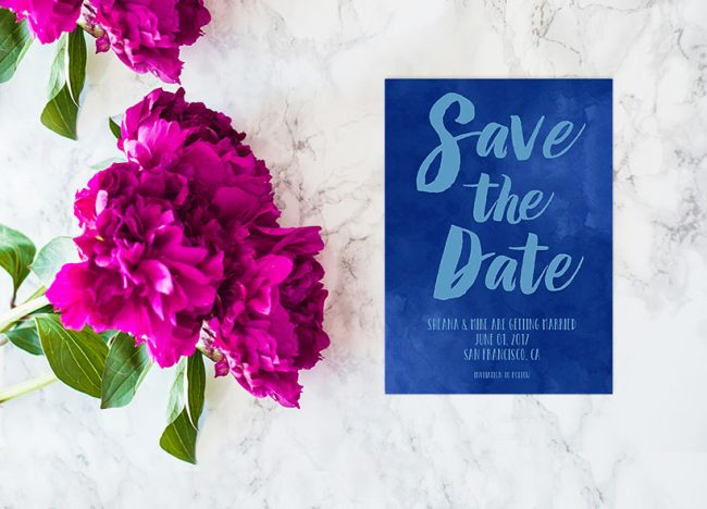 Indigo blue watercolor brush save the date cards