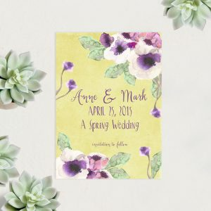 watercolor anemones chartreuse save the date cards