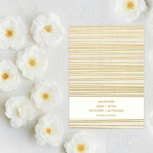 Mod chic gold stripes save the date cards
