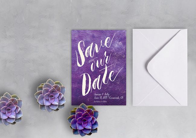 Ultra Violet watercolor save the date cards