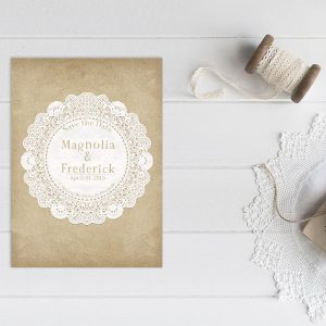 vintage doily save the date cards