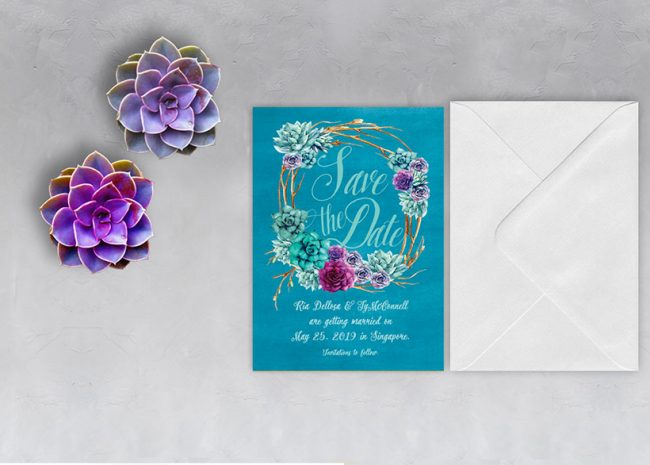 watercolor succulent wreath teal save the date cards