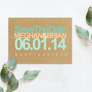 Rustic modern chic coral & mint save the date cards