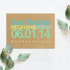 rustic modern chic aqua & chartreuse save the date cards