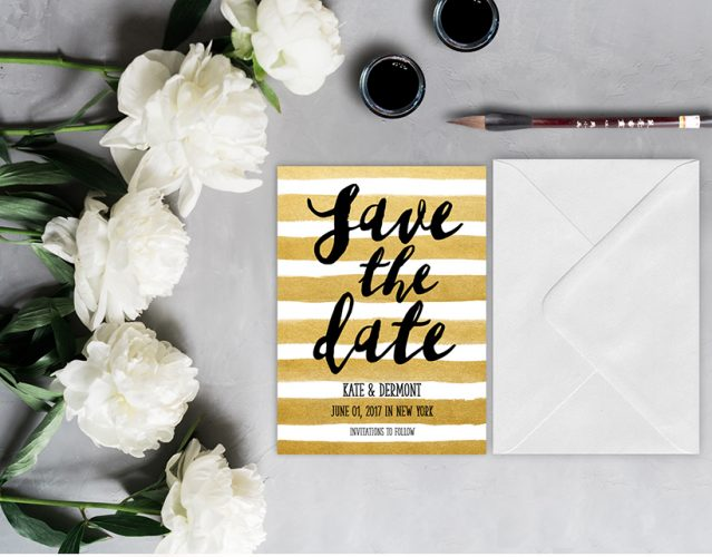 gold watercolor brush stripes save the date cards