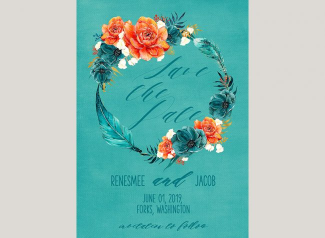 Native American wreath inspired save the date cards