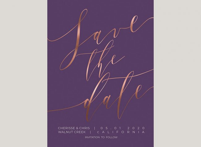 Rose gold calligraphy on violet save the date cards