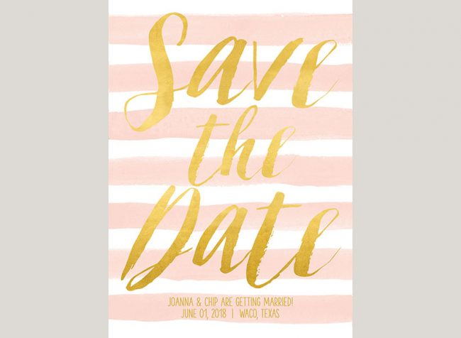 Watercolor blush stripes save the date cards