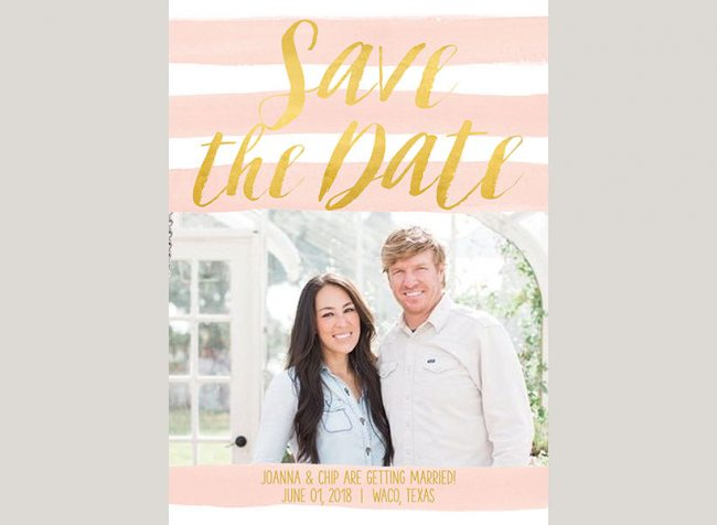 Watercolor blush stripes photo save the date cards