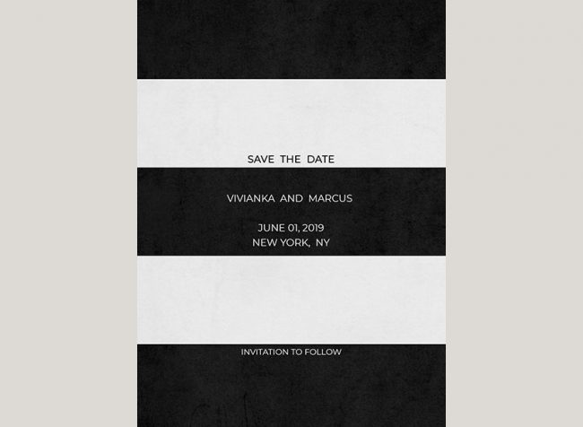 Modern black and white stripes save the date cards
