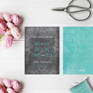 Chalkboard scroll aqua save the date cards