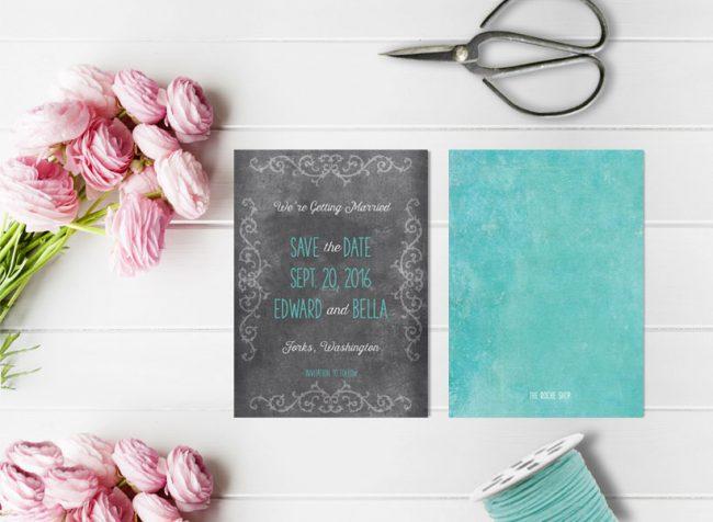 Chalkboard scroll aqua save the date cards