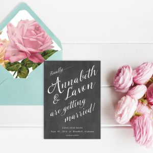 Chalkboard chic save the date cards