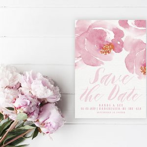 Cottage chic watercolor florals save the date cards