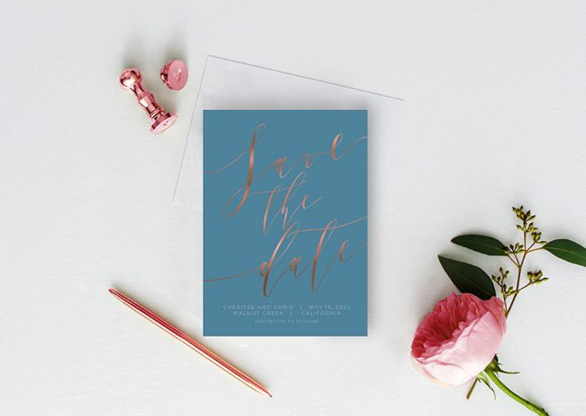 Romantic niagara blue with rose gold calligraphy save the date cards