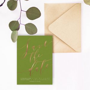 Rose gold calligraphy on olive green save the date cards