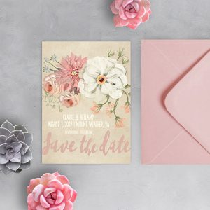 Rustic chic watercolor blush florals save the date cards