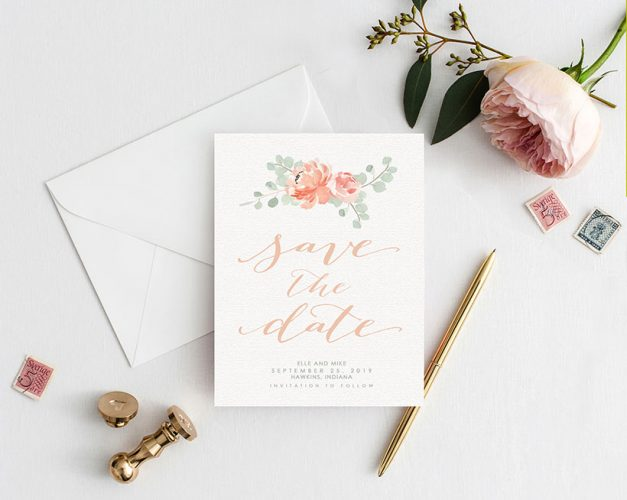 Peaches and cream peony watercolor save the date cards