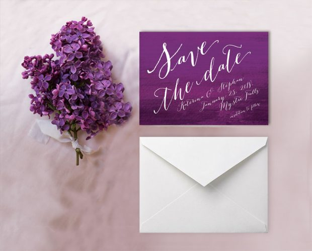 Calligraphy on purple ombre save the date cards