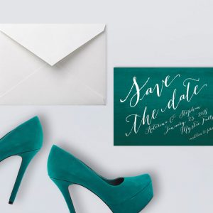 Calligraphy on teal ombre save the date cards