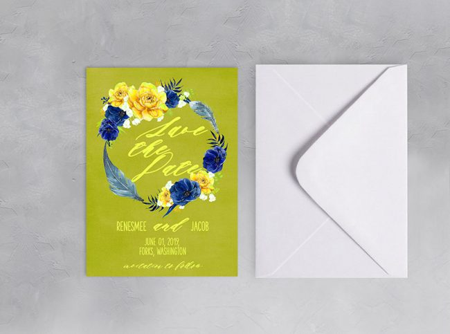 Boho chic wreath chartreuse save the date cards