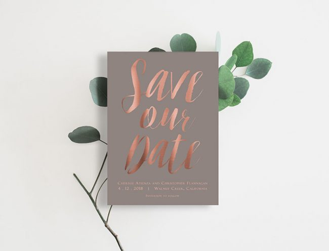 Rose gold calligraphy on taupe save the date cards