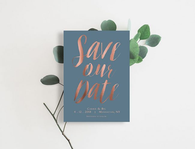Rose gold calligraphy on niagara blue save the date cards
