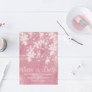 Coral pink watercolor cherry blossom save the date cards