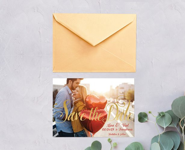 Gold calligraphy photo save the date cards