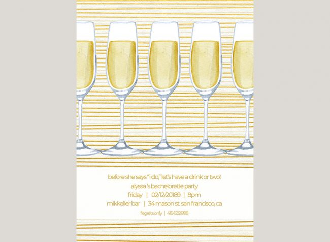 modern chic gold stripes bachelorette party invitations