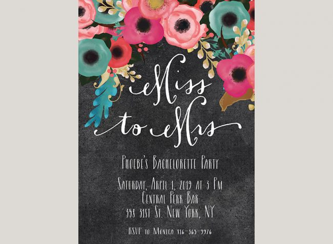 spring flowers on chalkboard bachelorette party invitations