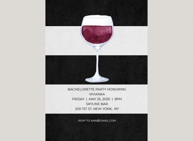 black & white stripes wine bachelorette party invitations