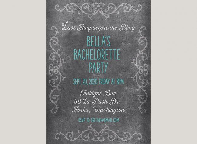 Aqua chalkboard chic bachelorette party invitations