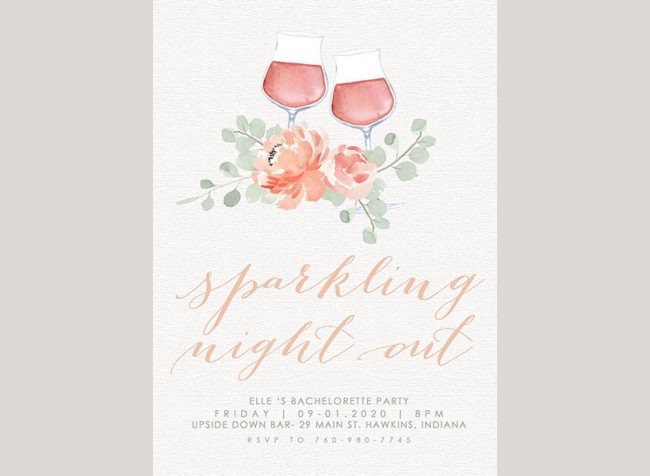 pastel floral watercolor wine bachelorette party invitations