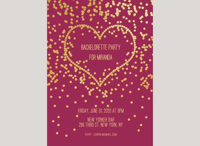 gold confetti heart on purple passion bachelorette party invitations