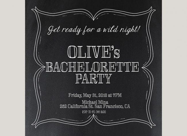 black square Gatsby bachelorette party invitations