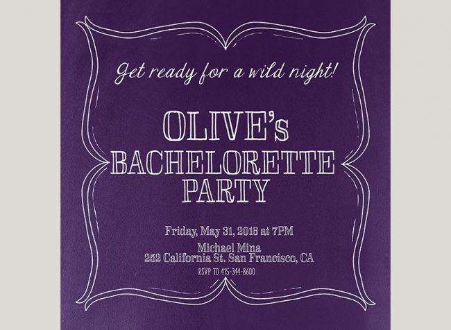 violet square vintage chic bachelorette party invitations