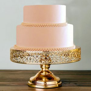 shiny metallic gold lace cake stand